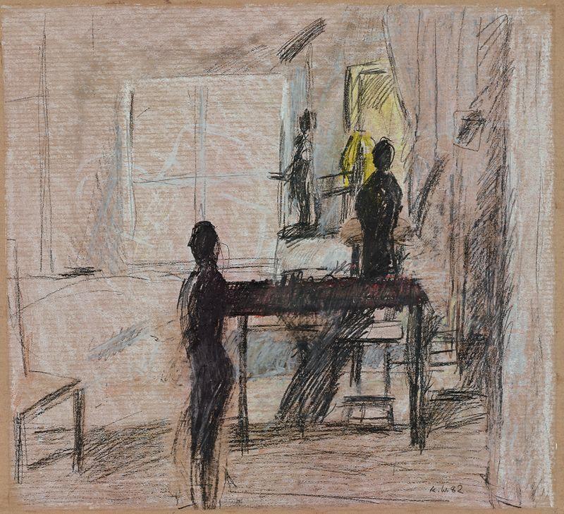 Schneiderpuppen,  1982,  Kreide,  Kohle,  33 x 36 cm