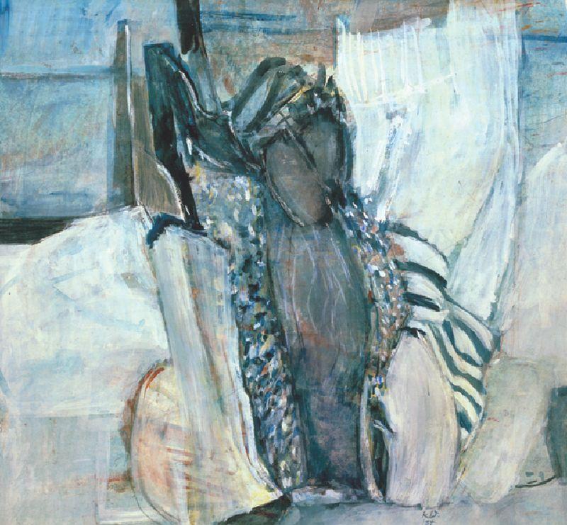 Kleider,  1984,  Druckfarbe,  Acryl,  47 x 51,3 cm,  Privatbesitz