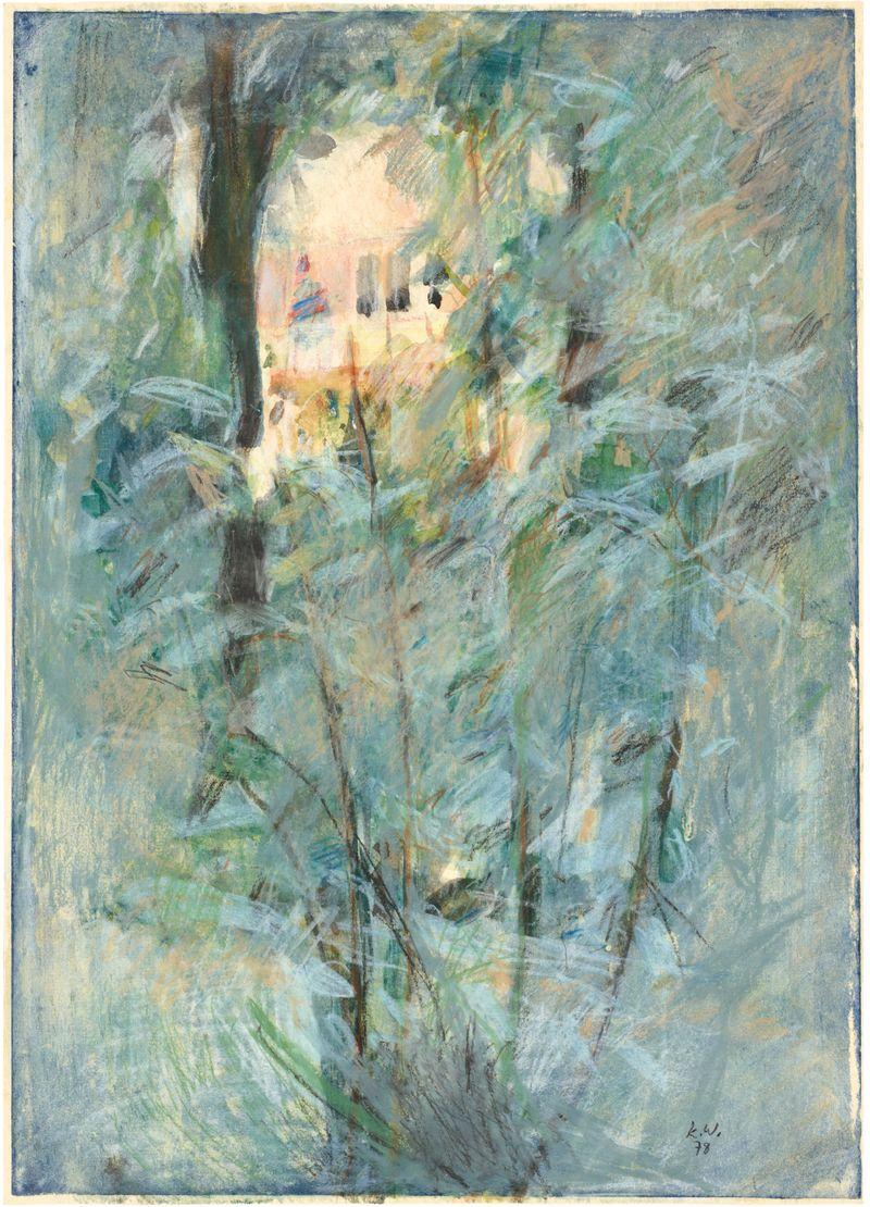 Hinter Hecken II,  1978,  Druckfarbe,  Tusche,  Kreide,  Kohle,  42,6 x 30,6 cm