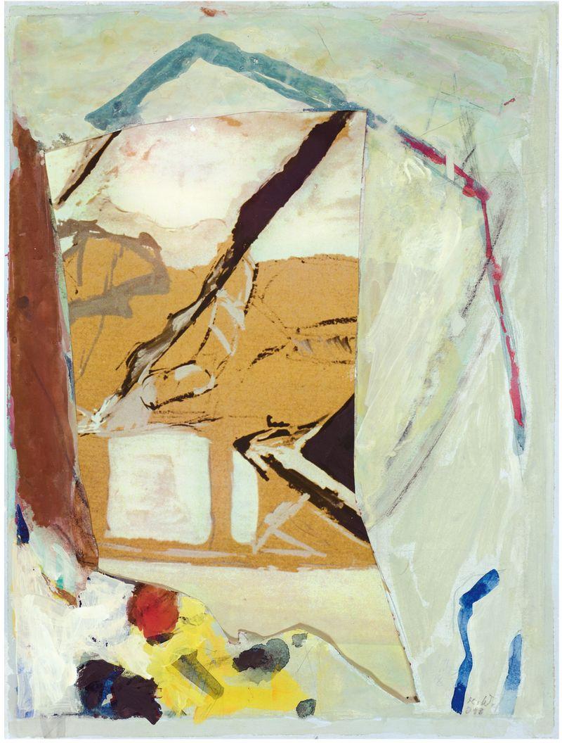 Einschnitt,  2010,  Acryl,  Collage,  34,5 x 26 cm