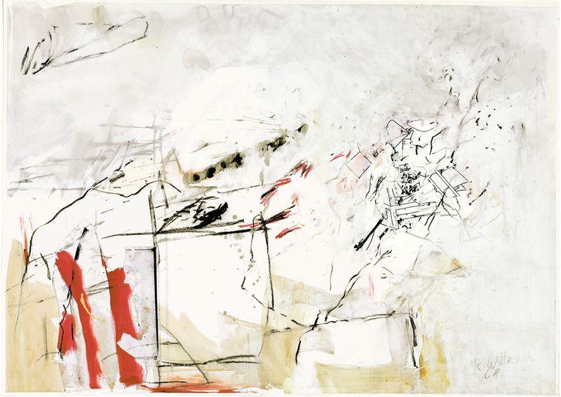 Jetzt,  2001,  Acryl,  Kohle,  Kugelschreiber,  Collage,  72,5 x 101,5 cm