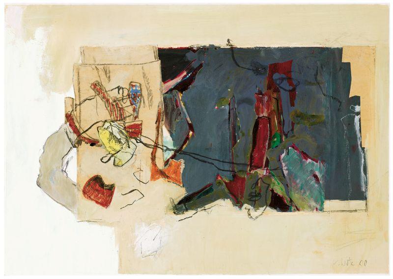 Kulisse,  2000,  Acryl,  Kreide; Kohle,  Collage,  59 x 83,5 cm